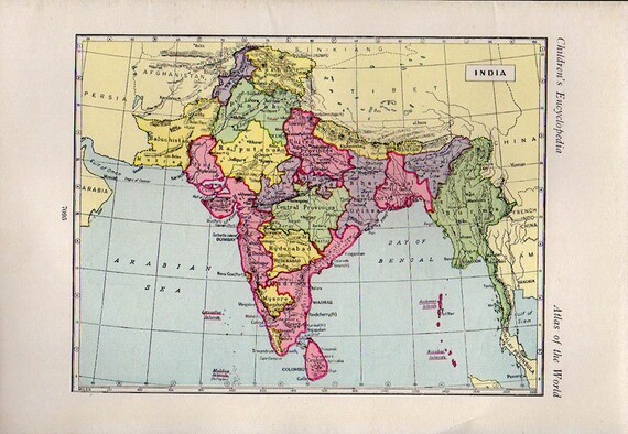Map of INDIA, 1920s atlas antique map, Indian Map, Map of bombay Map Decor