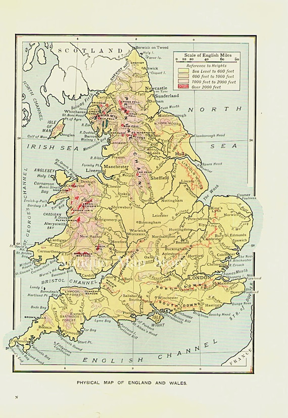 Map Of England Wales.Map Of England Wales 1905 Atlas Antique Map England Map Map Of Wales London Map Decor