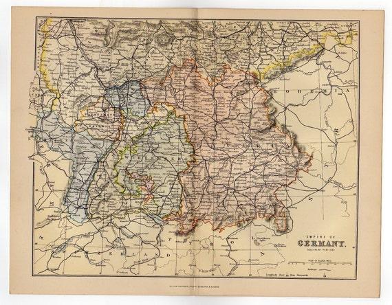 Grosse Karte Von Deutschland Reich 1880 Atlas Antike Bayern Etsy