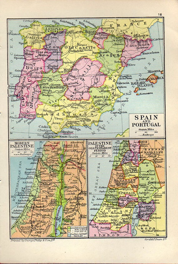 Map Of Spain Portugal.Gorgeous Map Of Spain Portugal 1931 Atlas Antique Map Spain Map Map Of Spain Map Decor