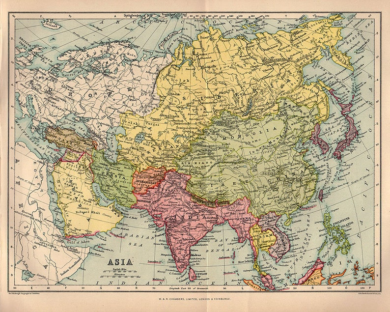India Map Asia.Beautiful Map Of Asia 1922 Atlas Antique Map China India Etsy