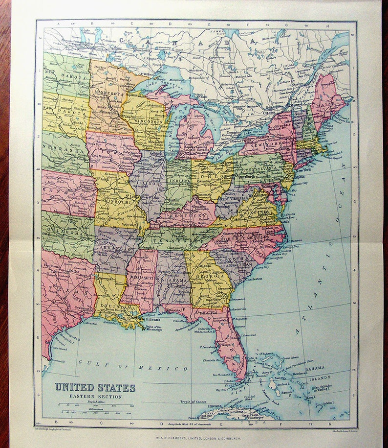 Large Map Of Eastern United States America 1922 Atlas Antique Etsy