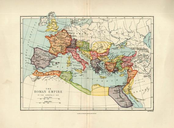 Medium Map Of Roman Empire 1900 Atlas Antique Map Rome Map Etsy