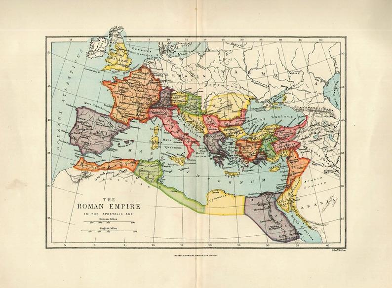 Map 1900.Medium Map Of Roman Empire 1900 Atlas Antique Map Rome Map Map Of Europe Map Decor