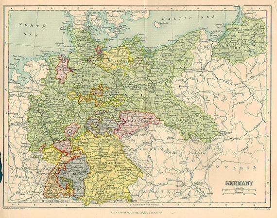 Map Of Southern Germany With Cities.Large Map Of Germany Empire 1924 Atlas Antique Map Berlin Bavaria Map Map Of Cities Map Decor