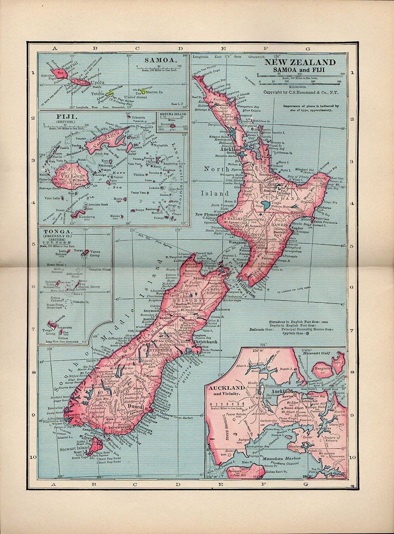 New Zealand Auckland Map.Map Of New Zealand 1936 Atlas Antique Map Nz Map Auckland Map Decor