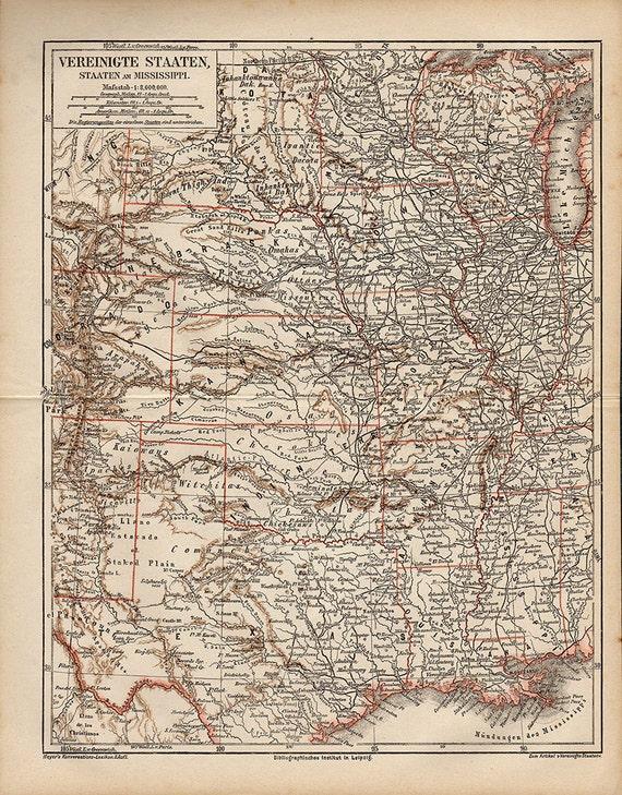 Gran mapa de Mississippi Nebraska Kansas Colorado Estados | Etsy