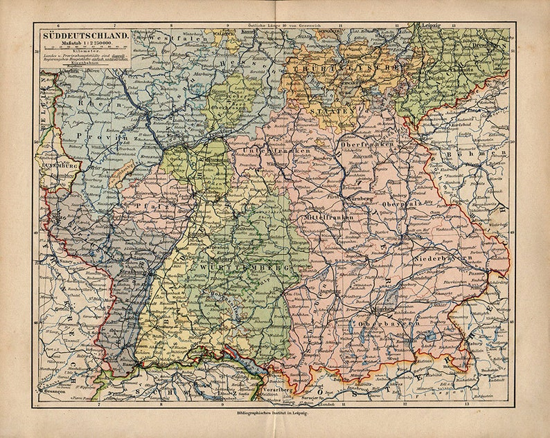 Large Map of Southern Germany, 1890 atlas antique map, Map of cities Map  Decor