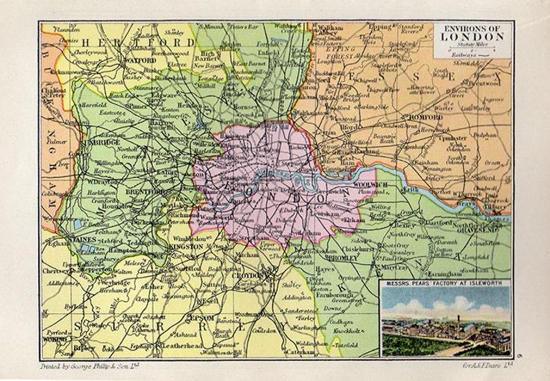 London Atlas Map.Gorgeous Map Of London 1931 Atlas Antique Map Uk Londonmap Map Of London Map Decor