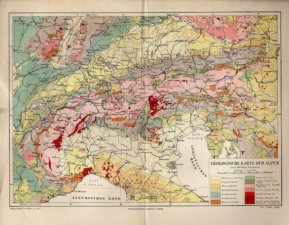 Antique Map of ITALIAN ALPS (geological), 1890s atlas antique map, Turin  Map, Map of Bologna Map Decor