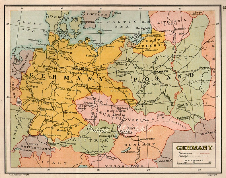 Map Of Germany In 1940.Germany Map1940 Countries Nations Atlas Antique Map 9 X 7 Etsy