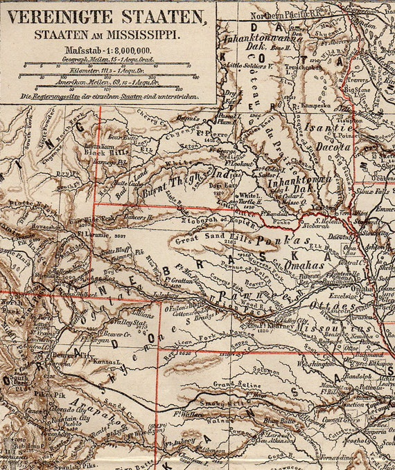 Large Map Of Mississippi Nebraska Kansas Colorado States 1874 Etsy