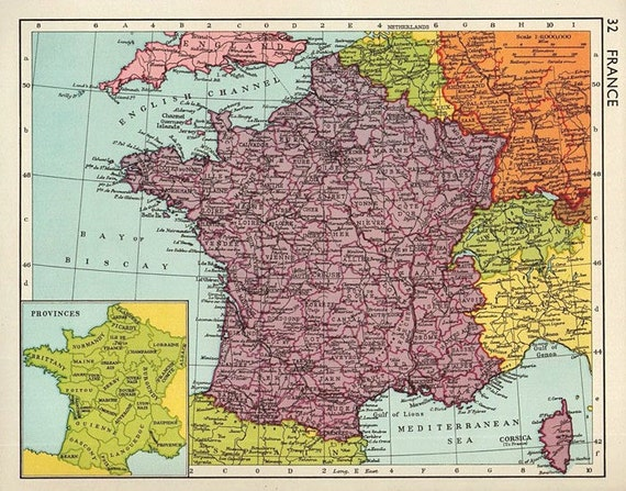 Map Of France Detailed.Medium Vintage Map Of France 1950s Atlas Antique Map French Map Map Of Paris Map Decor
