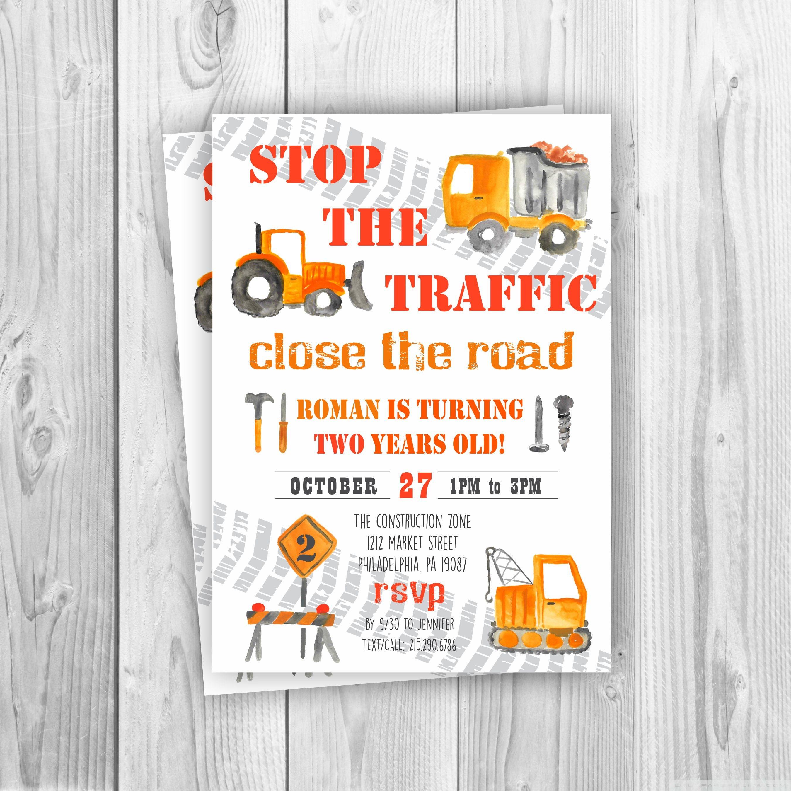 Construction Birthday Invitation Dump Truck Bulldozer | Etsy