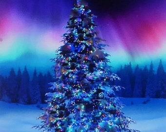 Tissu de coton PANNEAU Quilting Aurora LIGHTS NORTHERN LIGHTS arbres vert