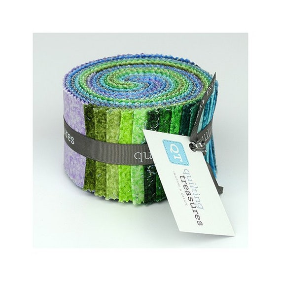 Color Blends Cool 30 Strips 2.5 Jelly Roll Quilting Treasures