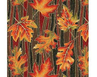 Autumn Leaves~Wave Leaves Falling Cotton Fabric By Benartex