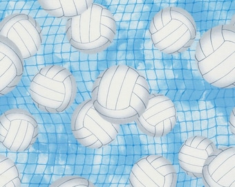 Volleyballs on Blue~Cotton Fabric by Timeless Treasures