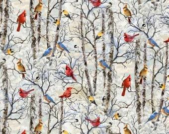 Winter Wonderland Snowy Birds - White Cotton Fabric by Timeless Treasures