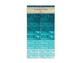 Blue Lagoon Stonehenge Gradation Cotton Strips By Northcott 40- 2 1/2in Strips