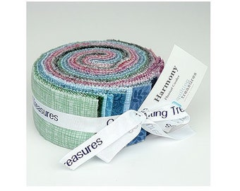 Harmony Cool Flannel Jelly Roll~24 2 1/2 Strips Cotton Fabric By Quilting Treasures