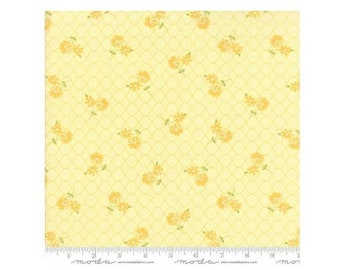 Pepper Flax~Floral Daisy Days Yellow Cotton Fabric By Moda