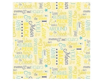 To The Moon And Back~Words Yellow Flannel Fabric By Wilmington Prints