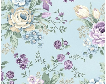 Twilight Garden   Rose Bouquets On Light Blue - Cotton Fabric By Henry Glass