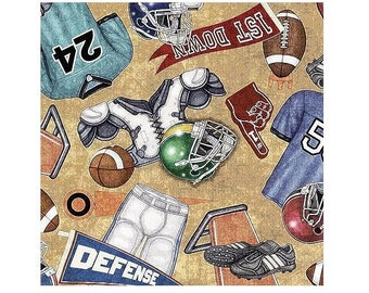 Gridiron Football Equipment Cotton Fabric By Quilting Treasures