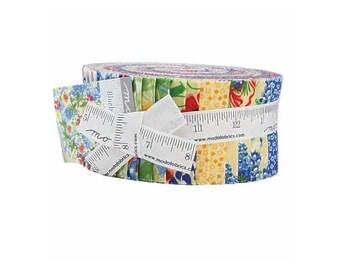 Bluebonnet Patch Jelly Roll, 40 - 2.5in x 44in Strips Of Cotton Fabric By Moda