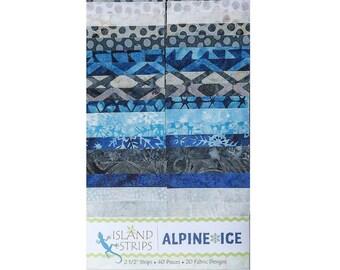 Alpine Ice 40Pc 2.5in Cotton Batik Strip Set - Island Batik