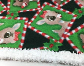 0a29e203bb Rudolph and Clarice 20x20 or 18x18 Crochet Edge Fleece