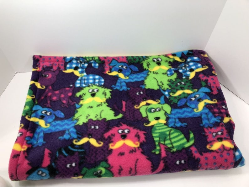 Reversible Dogs With Staches Print Fleece Blanket ChildPet Blanket Double Layer Blanket Rounded Edge Mona/'s Sewing Treasures