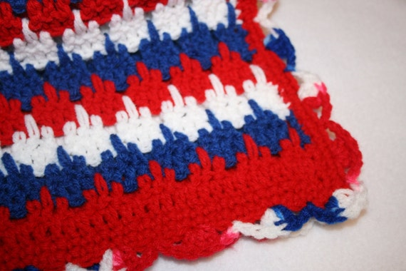 Red White And Blue Crochet Afghan Blanket Monas Sewing Etsy