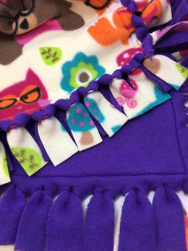 Mona/'s Sewing Treasures Reversible Hand Tied Double Layer Blanket Throw Fleece Woodland Animals with Glasses Print Fleece Blanket