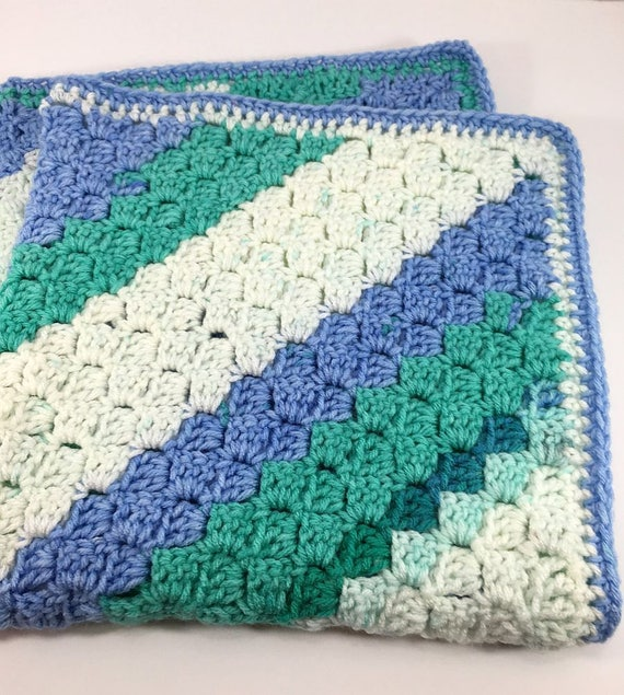 Spearmint C2c Blanket Blue Teal And White Colors Crochet Etsy