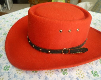 43183c4f6b7d7c Red Western Hat- Black Beaded Gold Edge Ribbon Band. Elastic inside for  good fit. Line Dance or Square Dancing. SZ, L/XL- 7 1/8