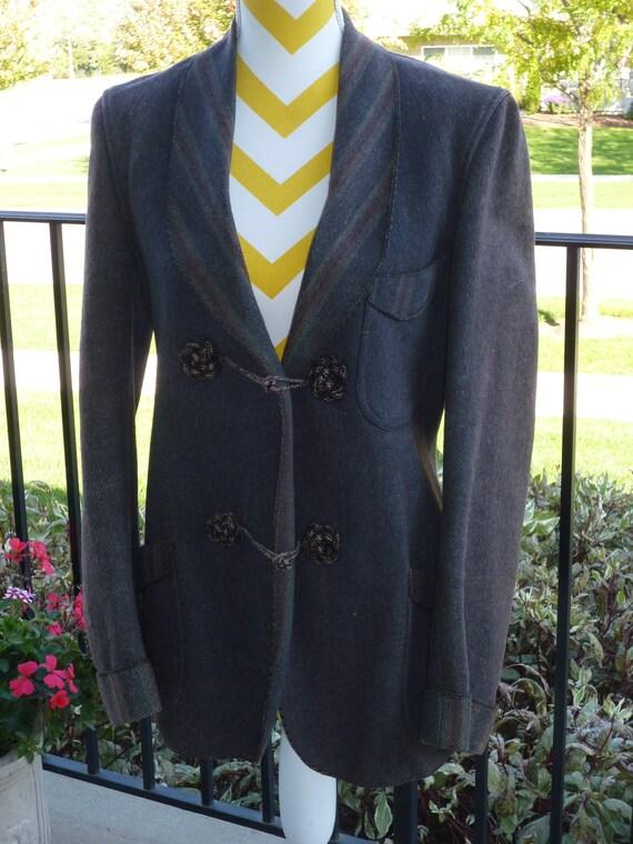Wool Smoking Jacket with 2 Frog Closures. Vintage
