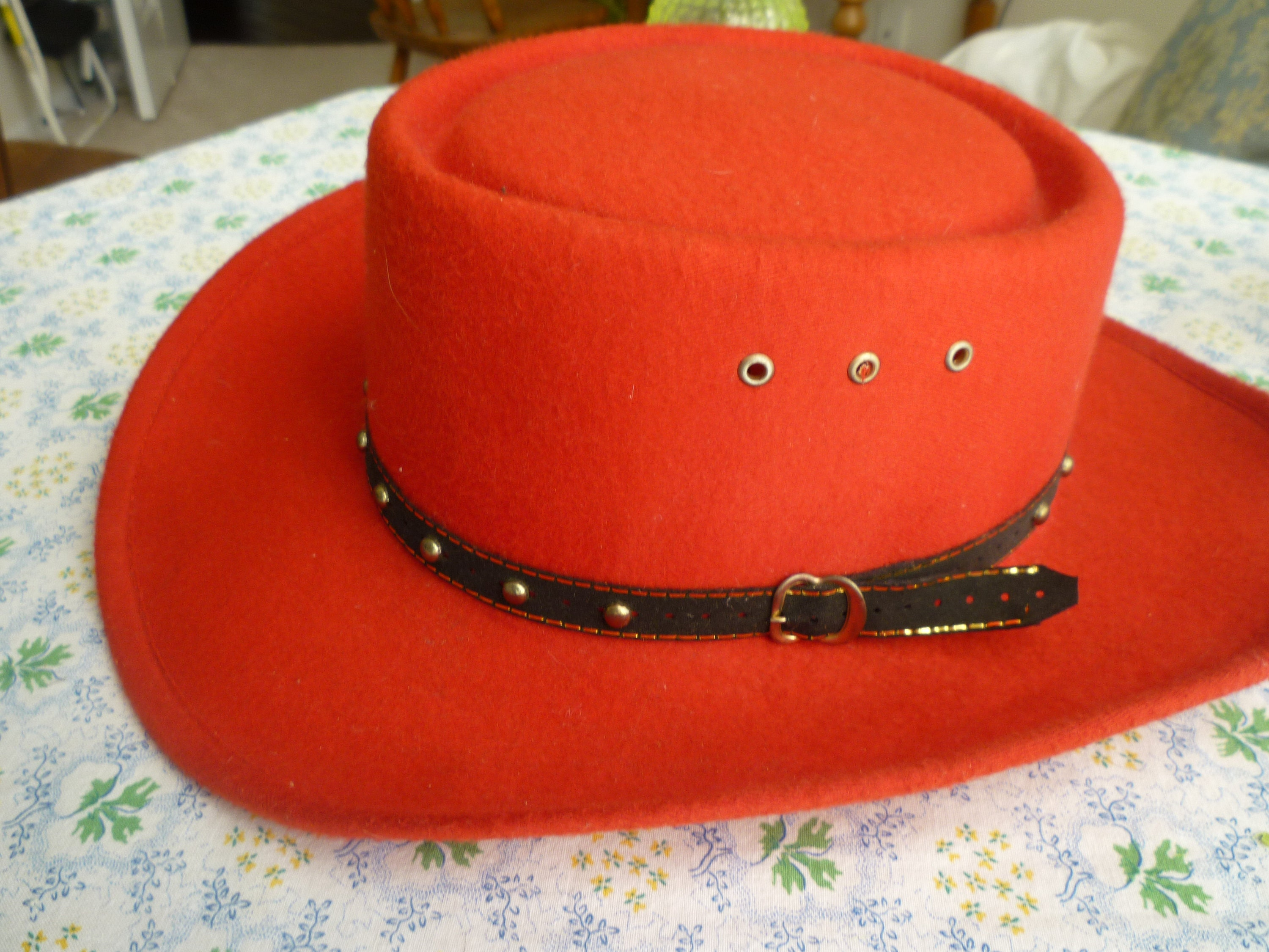 Red Western Cowboy Hat- Black Beaded f27e507733d