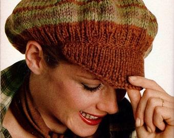 c80861c9c55 Visor Newsboy Hat or Beret Vintage Knitting Pattern Instant Download