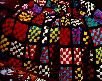 Checkerboard Squares Afghan Vintage Crochet Pattern Instant Download