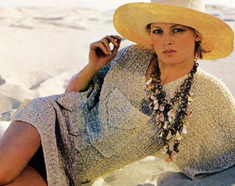 Easy Beach Cover-up Vintage Crochet Pattern Instant Download