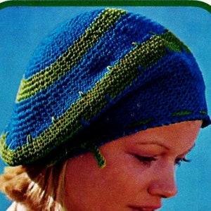 Tibetan Hat and Scarf Vintage Crochet Pattern Instant Download