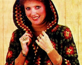 Crocheted Granny Square Hooded Jacket Digital Download Vintage Crochet Pattern