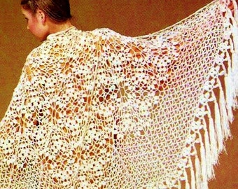 Victorian Lace Shawl Vintage Crochet Pattern Instant Download