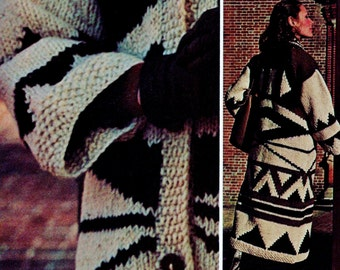 Bulky Knit Coat Vintage Knitting Pattern Instant Download
