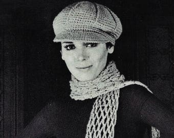 e91f1396dfa Hat and Scarf Vintage Crochet Patterns Instant Download
