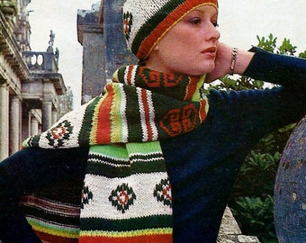 Hat and Scarf Set Vintage Knitting Pattern Instant Download