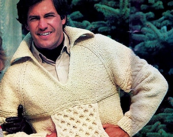 2da90bb69 Honeycomb Cable Sweater Vintage Knitting Pattern Instant Download
