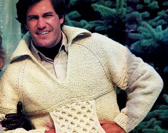 8657a356f Honeycomb Cable Sweater Vintage Knitting Pattern Instant Download